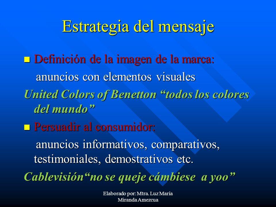 Estrategia del mensaje Definición de la imagen de la marca: Definición de la imagen de la marca: anuncios con elementos visuales anuncios con elemento
