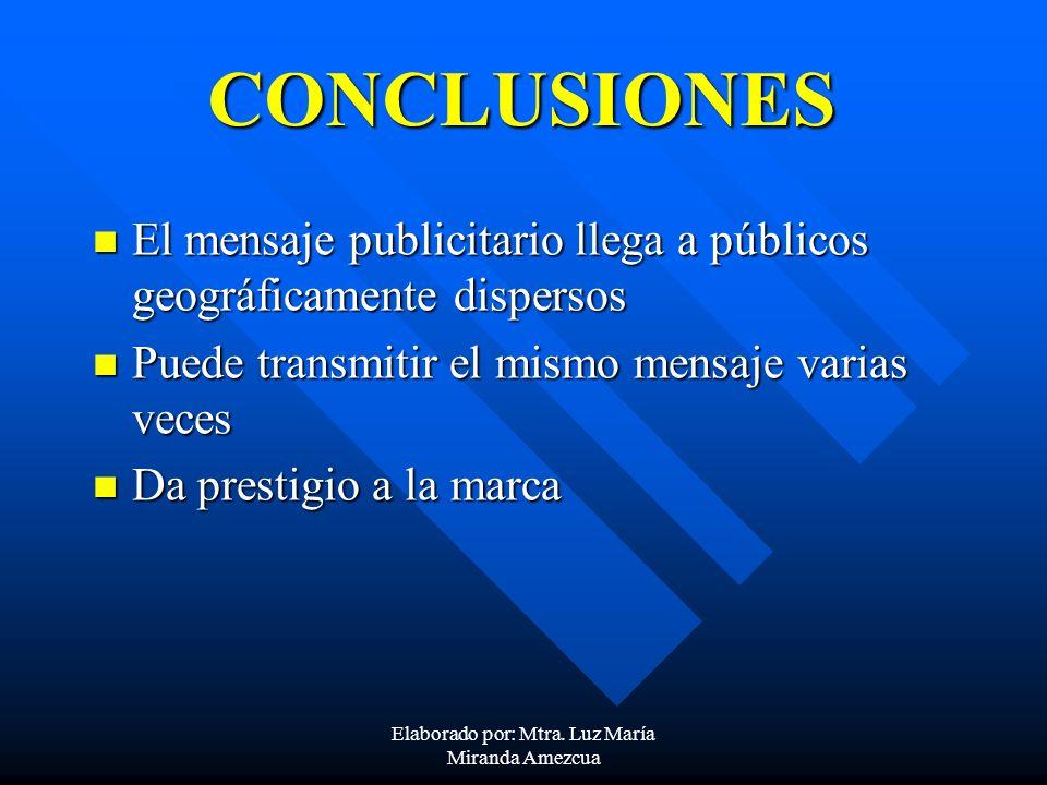 CONCLUSIONES El mensaje publicitario llega a públicos geográficamente dispersos El mensaje publicitario llega a públicos geográficamente dispersos Pue