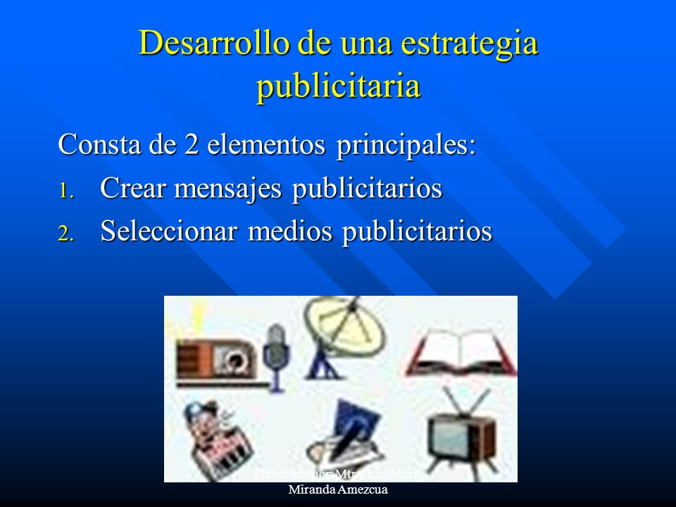 Desarrollo de una estrategia publicitaria Consta de 2 elementos principales: 1. Crear mensajes publicitarios 2. Seleccionar medios publicitarios Elabo