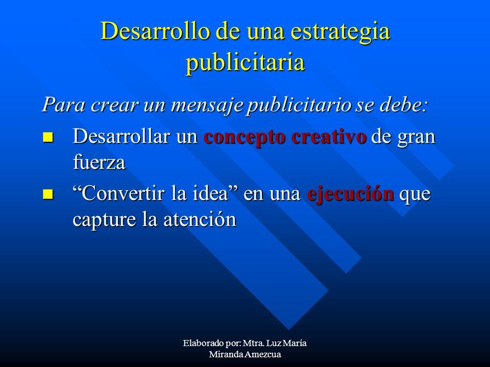 Desarrollo de una estrategia publicitaria Para crear un mensaje publicitario se debe: Desarrollar un concepto creativo de gran fuerza Desarrollar un c