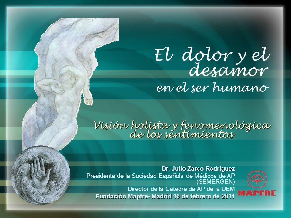 El dolor y el desamor en el ser humano Dr. Julio Zarco Rodríguez Presidente de la Sociedad Española de Médicos de AP (SEMERGEN) Director de la Cátedra