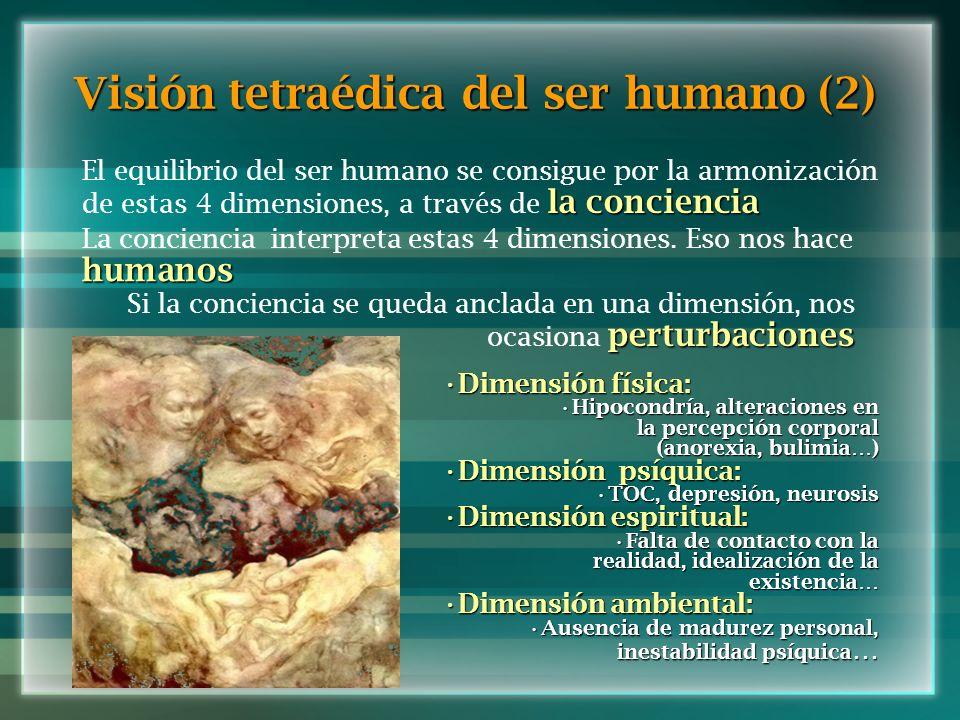 Visión tetraédica del ser humano (2) la conciencia El equilibrio del ser humano se consigue por la armonización de estas 4 dimensiones, a través de la