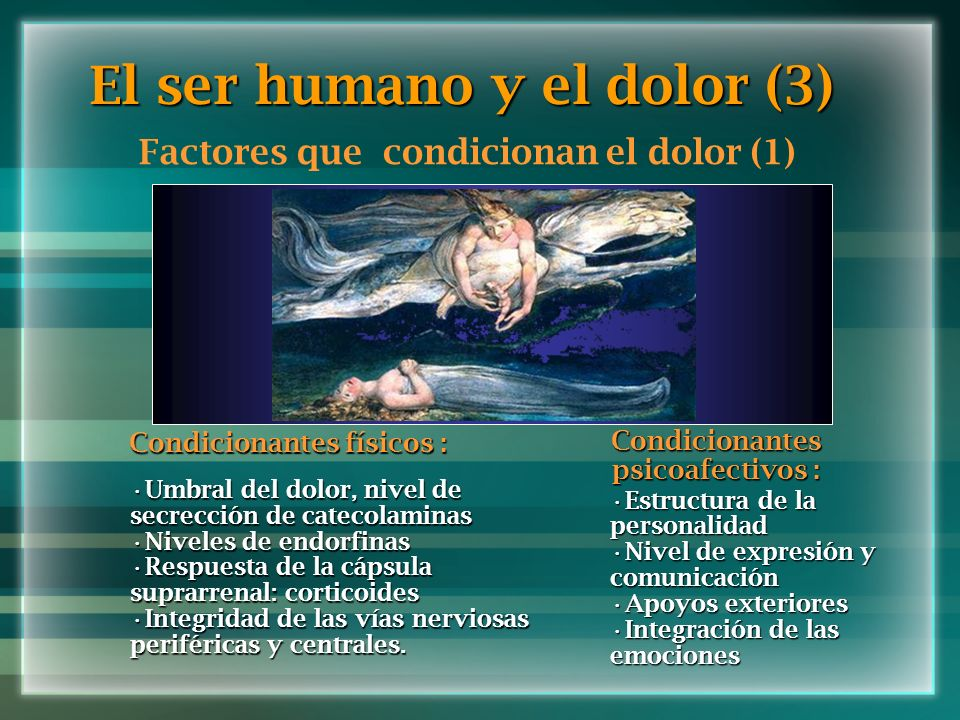 El ser humano y el dolor (3) Factores que condicionan el dolor (1) Condicionantes físicos : Umbral del dolor, nivel de secrección de catecolaminasUmbr