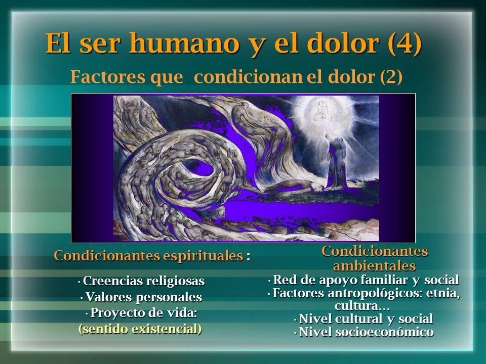 El ser humano y el dolor (4) Factores que condicionan el dolor (2) Condicionantes espirituales : Creencias religiosasCreencias religiosas Valores pers