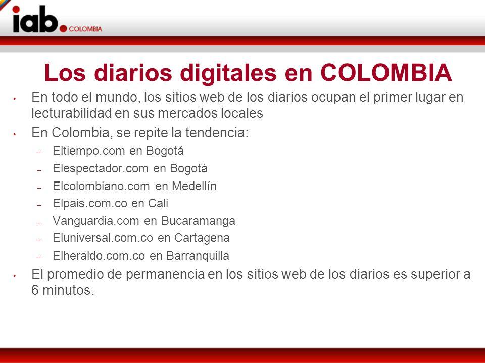 Los diarios digitales en COLOMBIA En todo el mundo, los sitios web de los diarios ocupan el primer lugar en lecturabilidad en sus mercados locales En Colombia, se repite la tendencia: – Eltiempo.com en Bogotá – Elespectador.com en Bogotá – Elcolombiano.com en Medellín – Elpais.com.co en Cali – Vanguardia.com en Bucaramanga – Eluniversal.com.co en Cartagena – Elheraldo.com.co en Barranquilla El promedio de permanencia en los sitios web de los diarios es superior a 6 minutos.