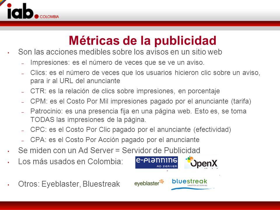 Métricas de la publicidad Son las acciones medibles sobre los avisos en un sitio web – Impresiones: es el número de veces que se ve un aviso.