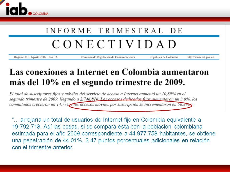 ... arrojaría un total de usuarios de Internet fijo en Colombia equivalente a 19.792.718.