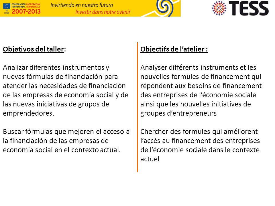 Objetivos del taller: Analizar diferentes instrumentos y nuevas fórmulas de financiación para atender las necesidades de financiación de las empresas de economía social y de las nuevas iniciativas de grupos de emprendedores.
