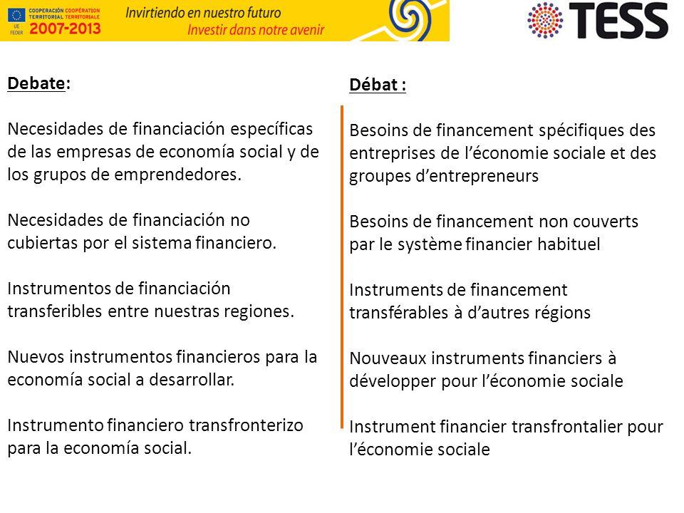 Debate: Necesidades de financiación específicas de las empresas de economía social y de los grupos de emprendedores.