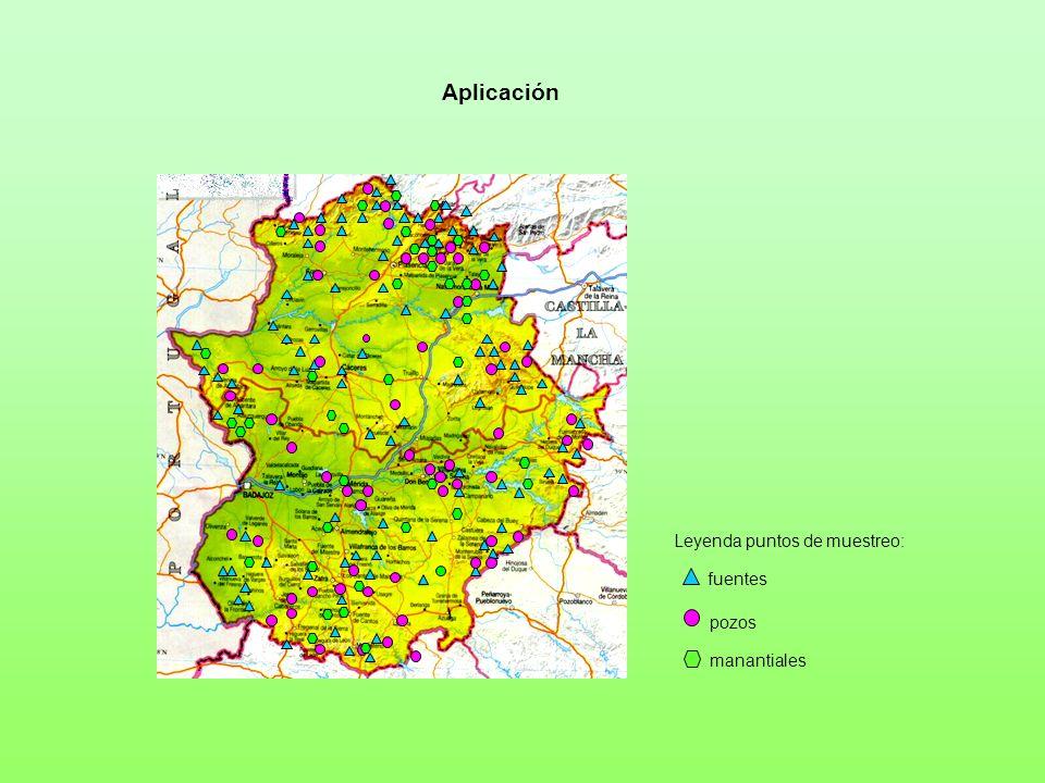 Leyenda puntos de muestreo: fuentes pozos manantiales Aplicación