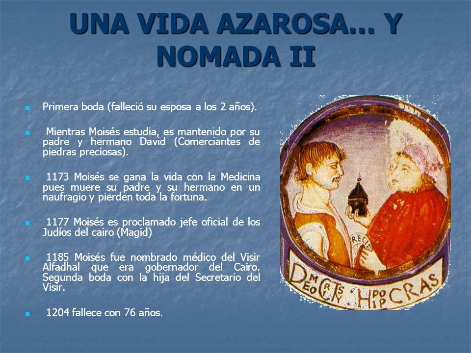 UNA VIDA AZAROSA… Y NOMADA II Primera boda (falleció su esposa a los 2 años). Mientras Moisés estudia, es mantenido por su padre y hermano David (Come