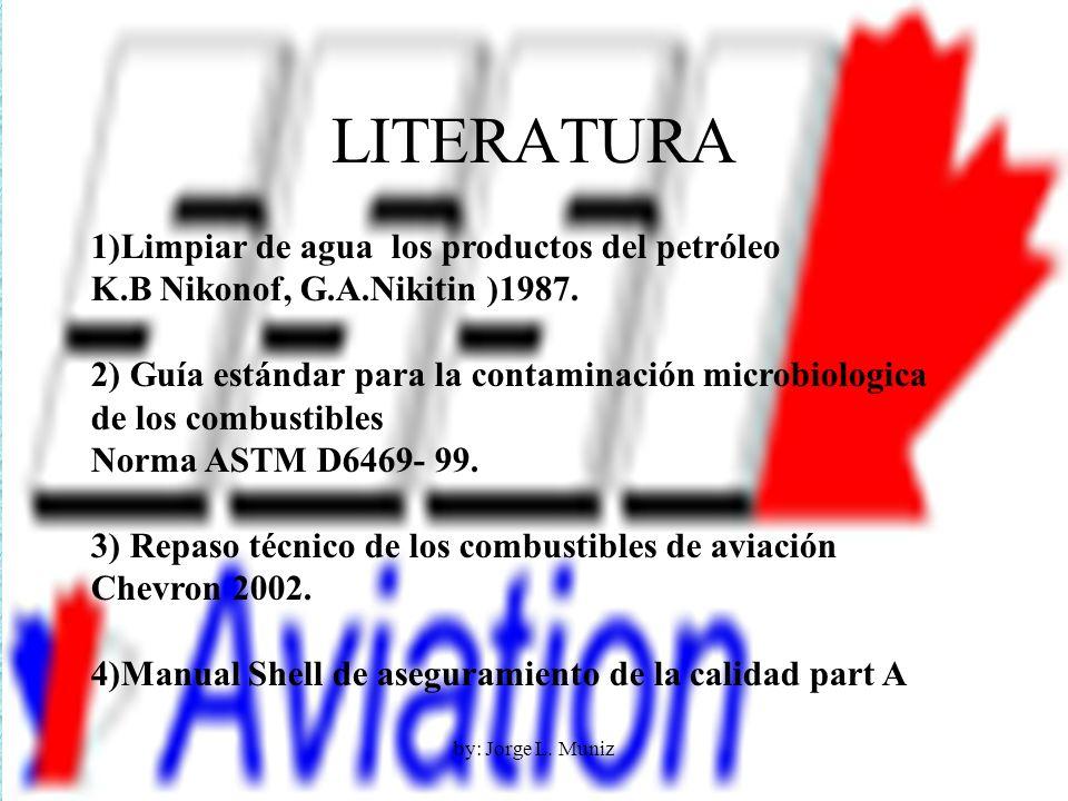 LITERATURA 1)Limpiar de agua los productos del petróleo K.B Nikonof, G.A.Nikitin )1987. 2) Guía estándar para la contaminación microbiologica de los c