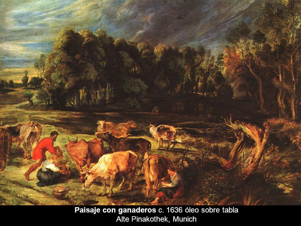 Paisaje con ganaderos c. 1636 óleo sobre tabla Alte Pinakothek, Munich
