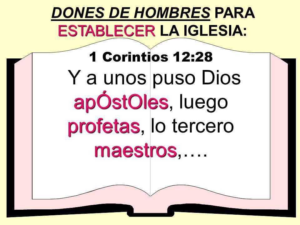 ESTABLECER DONES DE HOMBRES PARA ESTABLECER LA IGLESIA: 1 Corintios 12:28 apÓstOles profetas maestros Y a unos puso Dios apÓstOles, luego profetas, lo