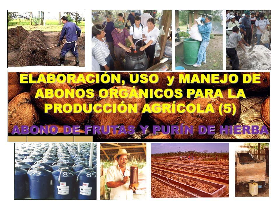 ELABORACIÓN, USO y MANEJO DE ABONOS ORGÁNICOS PARA LA PRODUCCIÓN AGRÍCOLA (5) ABONO DE FRUTAS Y PURÍN DE HIERBA