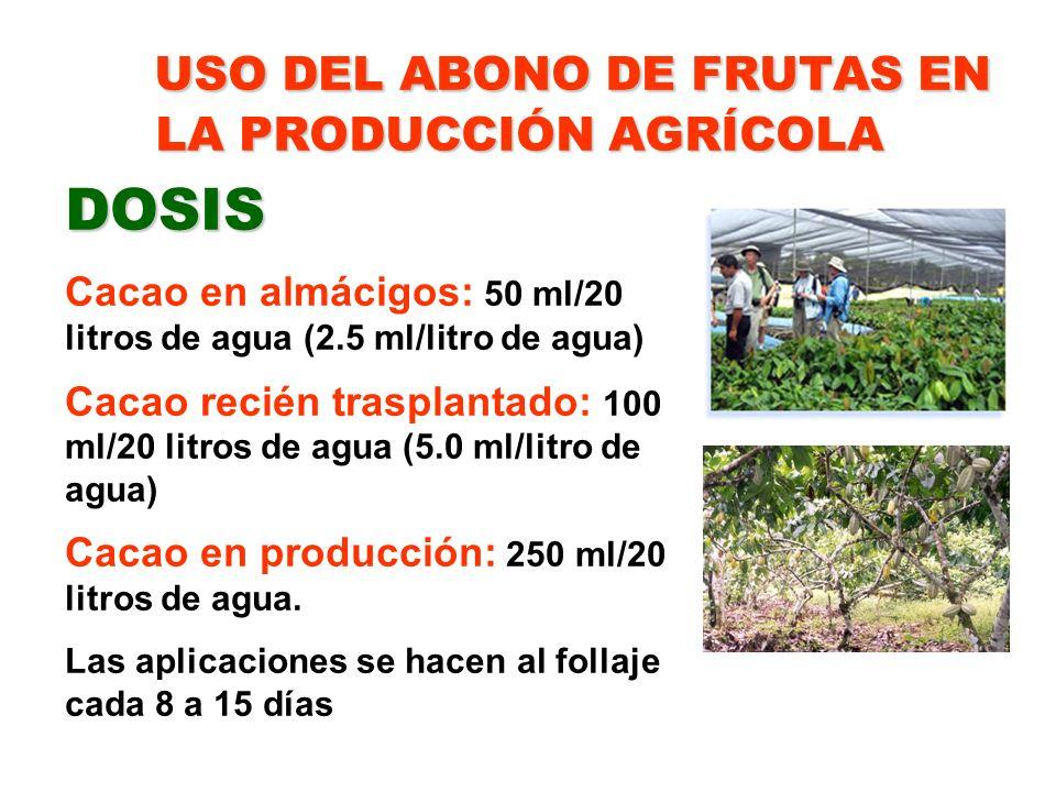 USO DEL ABONO DE FRUTAS EN LA PRODUCCIÓN AGRÍCOLA DOSIS Cacao en almácigos: 50 ml/20 litros de agua (2.5 ml/litro de agua) Cacao recién trasplantado: