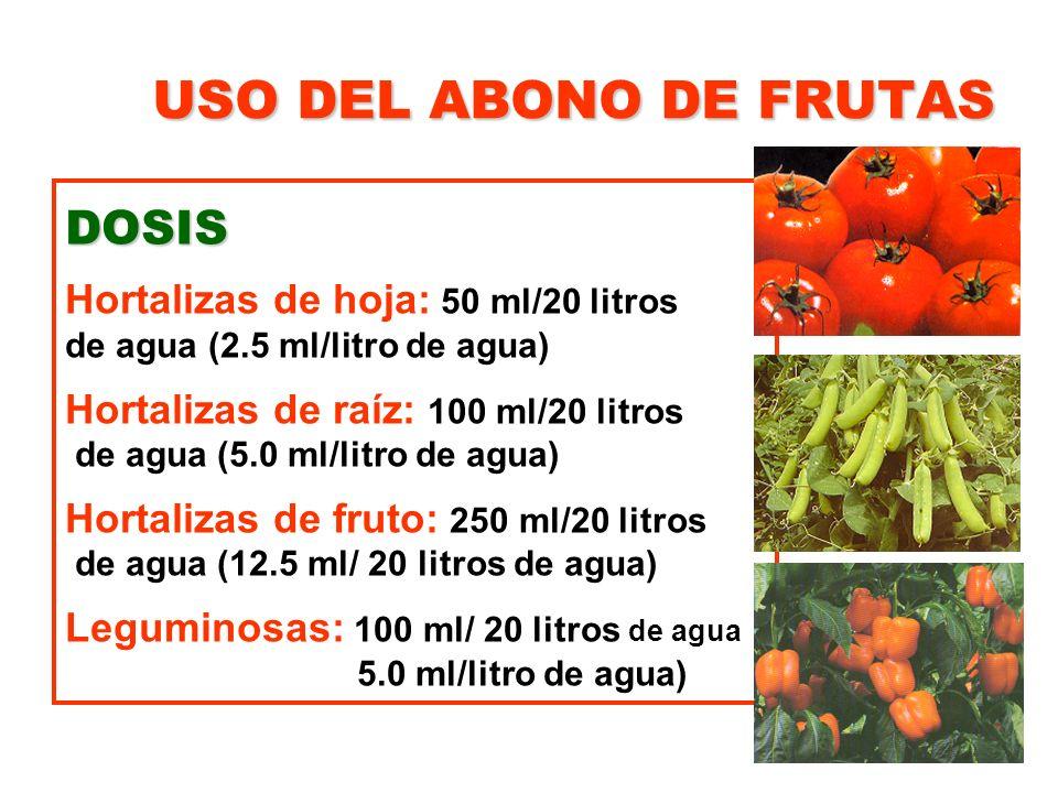 USO DEL ABONO DE FRUTAS DOSIS Hortalizas de hoja: 50 ml/20 litros de agua (2.5 ml/litro de agua) Hortalizas de raíz: 100 ml/20 litros de agua (5.0 ml/