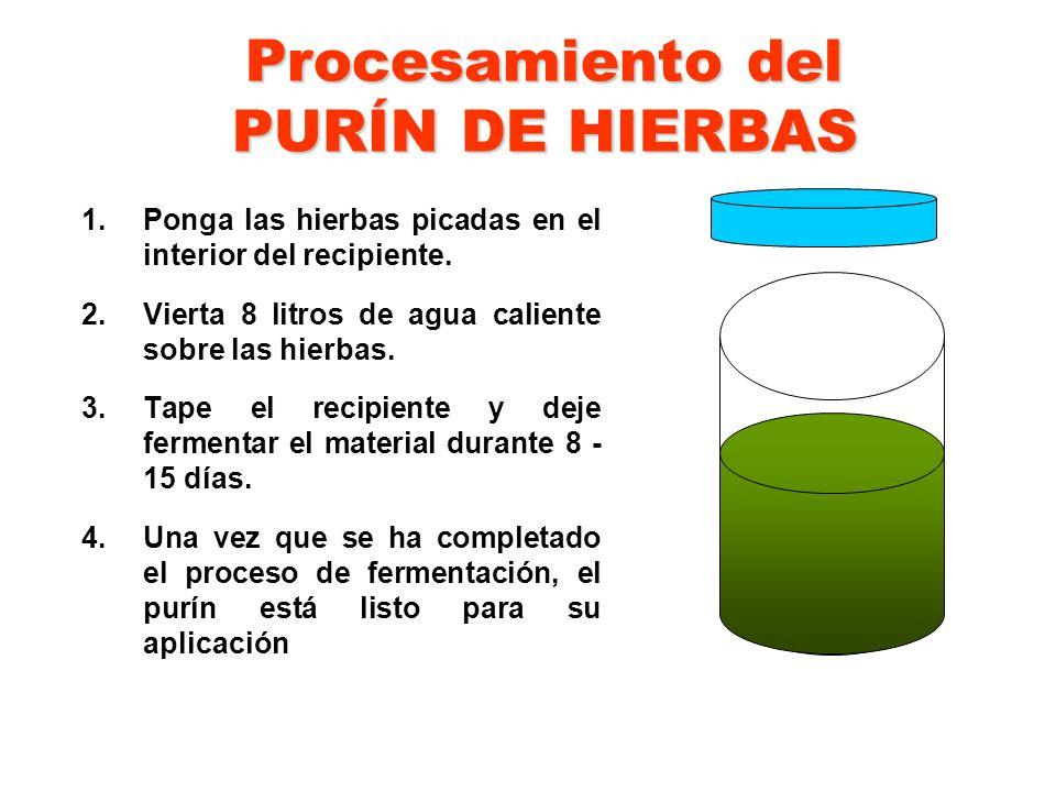 Procesamiento del PURÍN DE HIERBAS 1.Ponga las hierbas picadas en el interior del recipiente. 2.Vierta 8 litros de agua caliente sobre las hierbas. 3.
