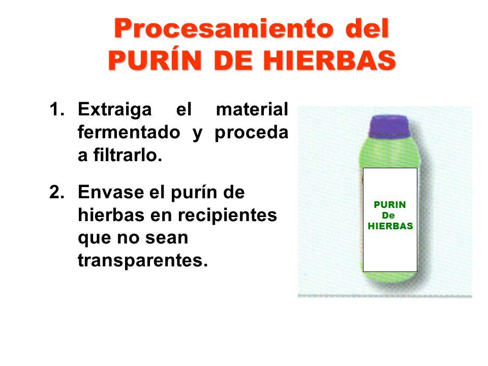 Procesamiento del PURÍN DE HIERBAS 1.Extraiga el material fermentado y proceda a filtrarlo. 2.Envase el purín de hierbas en recipientes que no sean tr
