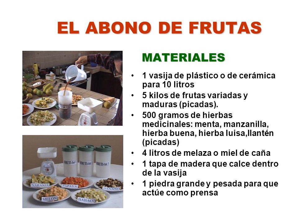EL ABONO DE FRUTAS MATERIALES 1 vasija de plástico o de cerámica para 10 litros 5 kilos de frutas variadas y maduras (picadas). 500 gramos de hierbas