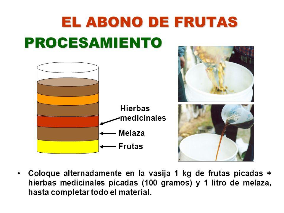 EL ABONO DE FRUTAS Coloque alternadamente en la vasija 1 kg de frutas picadas + hierbas medicinales picadas (100 gramos) y 1 litro de melaza, hasta co