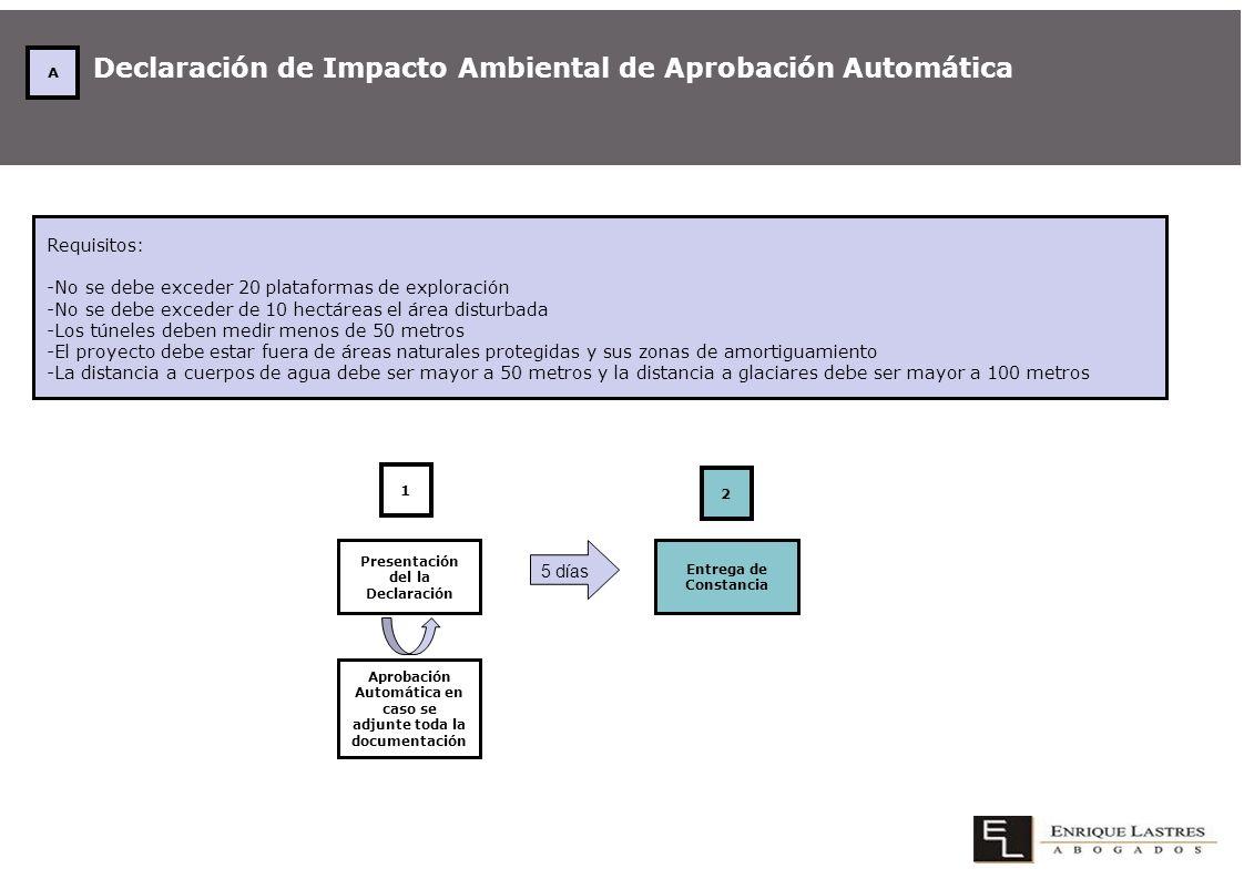 Declaración de Impacto Ambiental de Aprobación Automática Requisitos: -No se debe exceder 20 plataformas de exploración -No se debe exceder de 10 hect