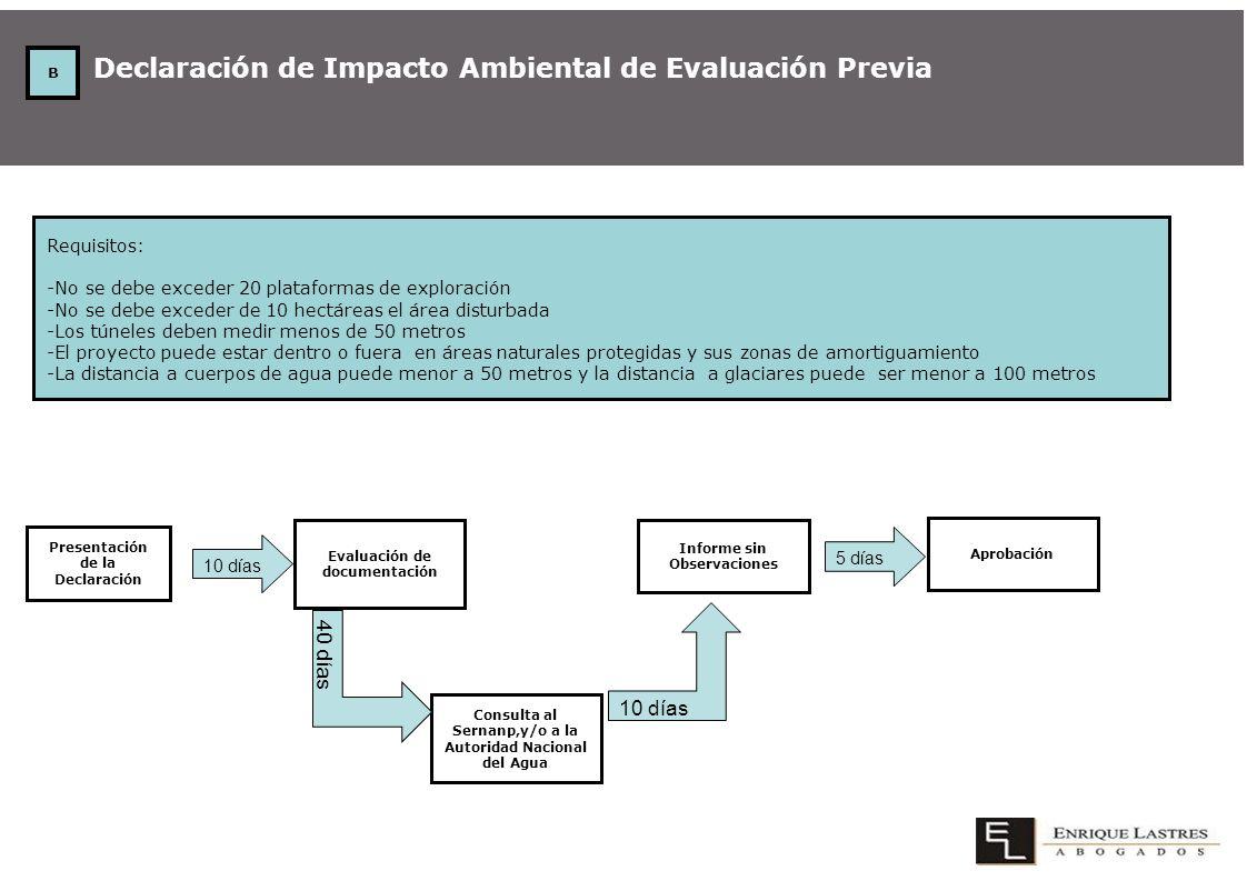 Declaración de Impacto Ambiental de Evaluación Previa Requisitos: -No se debe exceder 20 plataformas de exploración -No se debe exceder de 10 hectárea