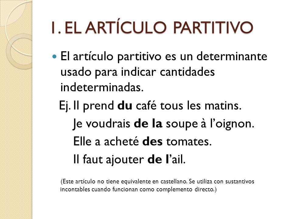 1. EL ARTÍCULO PARTITIVO El artículo partitivo es un determinante usado para indicar cantidades indeterminadas. Ej. Il prend du café tous les matins.