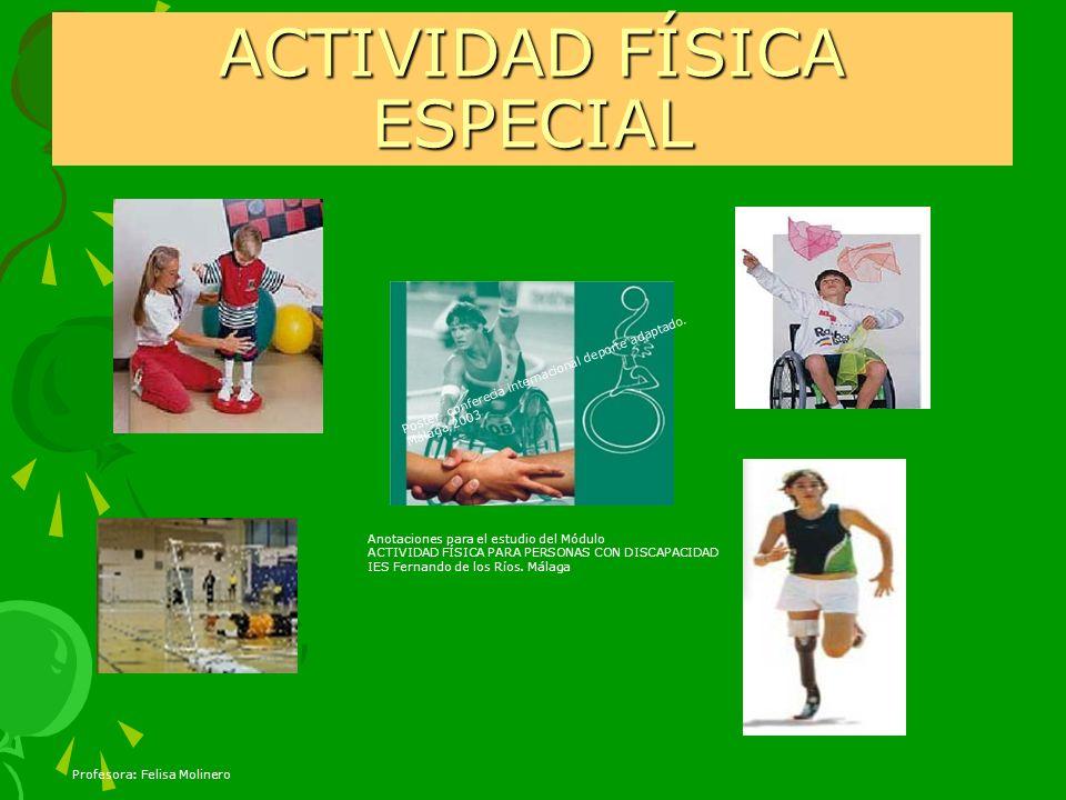 Profesora: Felisa Molinero ACTIVIDAD FÍSICA ESPECIAL Poster conferecia internacional deporte adaptado. Málaga 2003 Anotaciones para el estudio del Mód