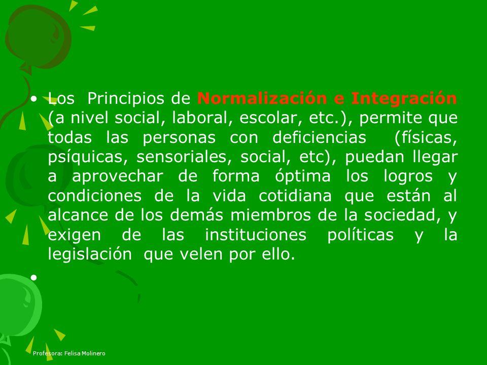 Los Principios de Normalización e Integración (a nivel social, laboral, escolar, etc.), permite que todas las personas con deficiencias (físicas, psíq