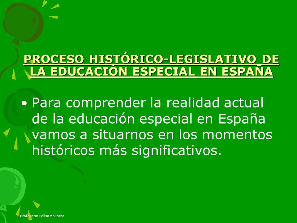 PROCESO HISTÓRICO-LEGISLATIVO DE LA EDUCACIÓN ESPECIAL EN ESPAÑA Para comprender la realidad actual de la educación especial en España vamos a situarn