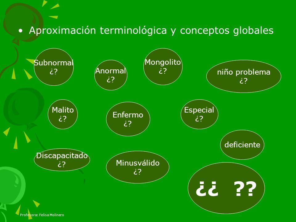 Profesora: Felisa Molinero Aproximación terminológica y conceptos globales Discapacitado ¿? Enfermo ¿? deficiente Anormal ¿? Malito ¿? Subnormal ¿? Mo