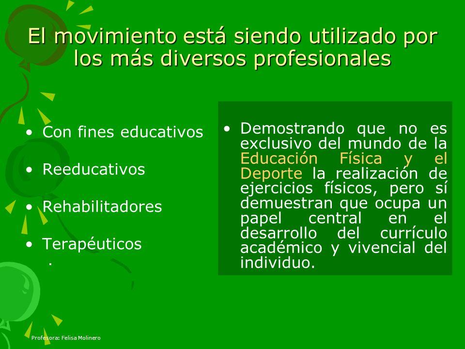 Profesora: Felisa Molinero El movimiento está siendo utilizado por los más diversos profesionales Con fines educativos Reeducativos Rehabilitadores Te
