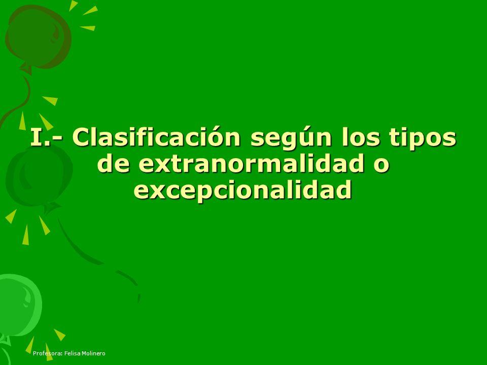 Profesora: Felisa Molinero I.- Clasificación según los tipos de extranormalidad o excepcionalidad