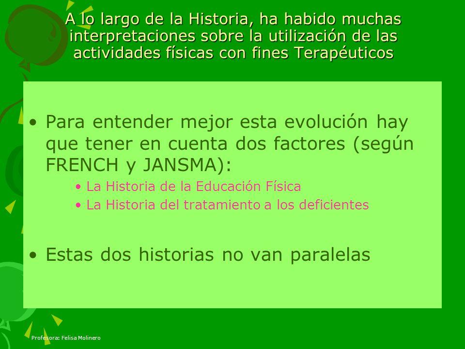 Profesora: Felisa Molinero A lo largo de la Historia, ha habido muchas interpretaciones sobre la utilización de las actividades físicas con fines Tera