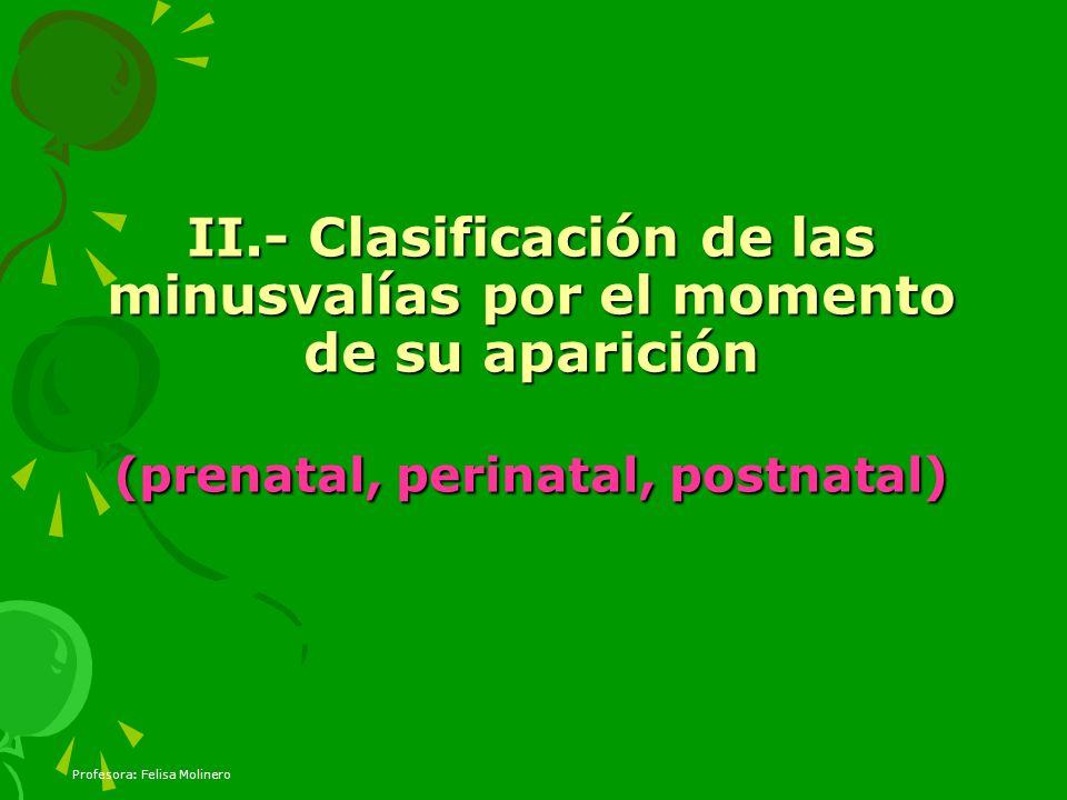 Profesora: Felisa Molinero II.- Clasificación de las minusvalías por el momento de su aparición (prenatal, perinatal, postnatal)