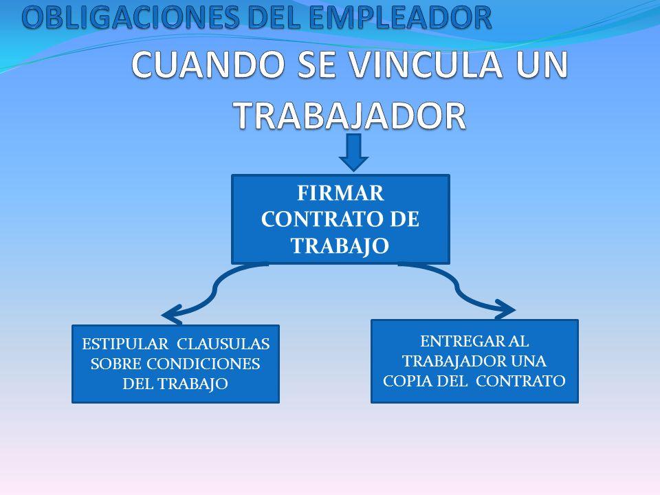 FIRMAR CONTRATO DE TRABAJO ESTIPULAR CLAUSULAS SOBRE CONDICIONES DEL TRABAJO ENTREGAR AL TRABAJADOR UNA COPIA DEL CONTRATO