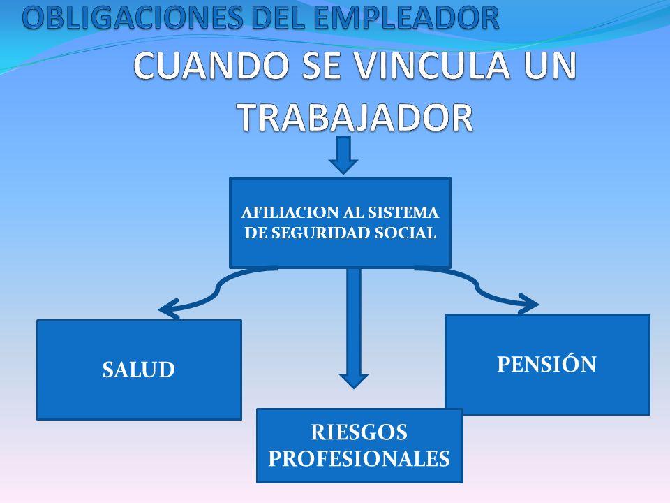 SALUD PENSIÓN AFILIACION AL SISTEMA DE SEGURIDAD SOCIAL RIESGOS PROFESIONALES