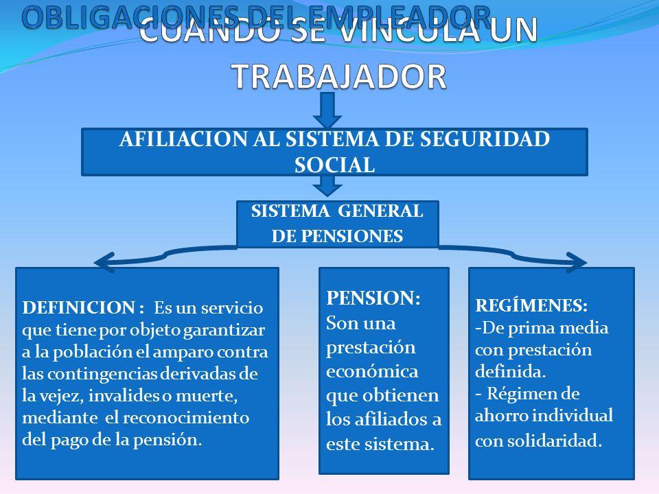 SISTEMA GENERAL DE PENSIONES AFILIACION AL SISTEMA DE SEGURIDAD SOCIAL DEFINICION : Es un servicio que tiene por objeto garantizar a la población el a