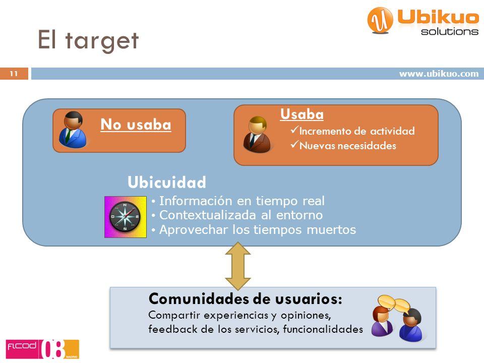 Ubicuidad Información en tiempo real Contextualizada al entorno Aprovechar los tiempos muertos El target Comunidades de usuarios: Compartir experienci