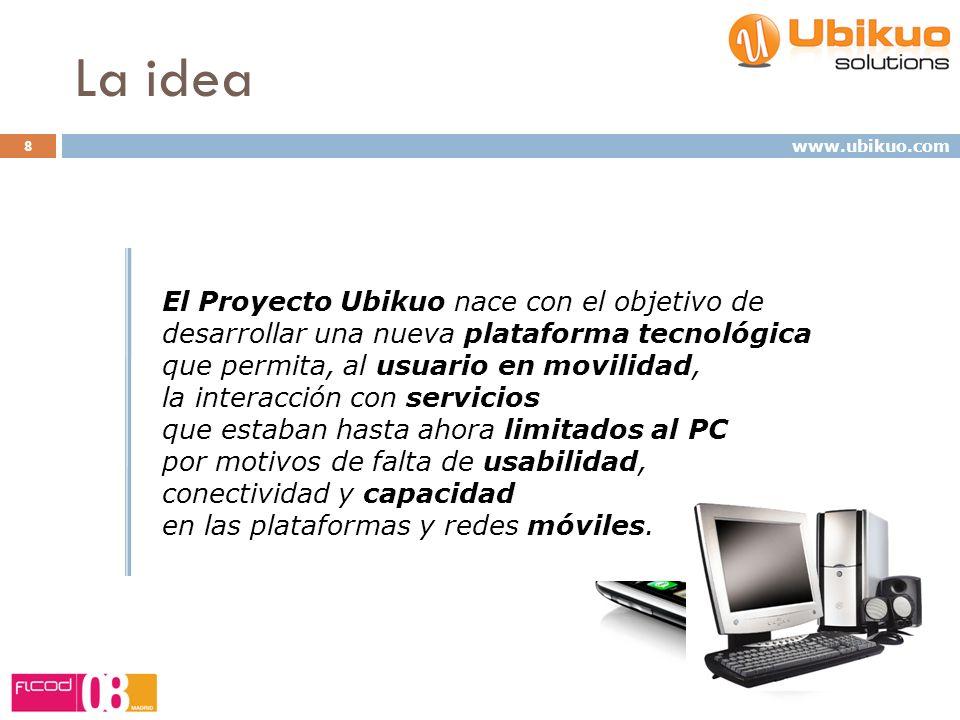 La idea 8 www.ubikuo.com Nuestro objetivo: Ser facilitadores de la movilización de servicios en tu vida diaria Ofrecerte soluciones en movilidad para que las disfrutes en cualquier momento y en cualquier lugar.
