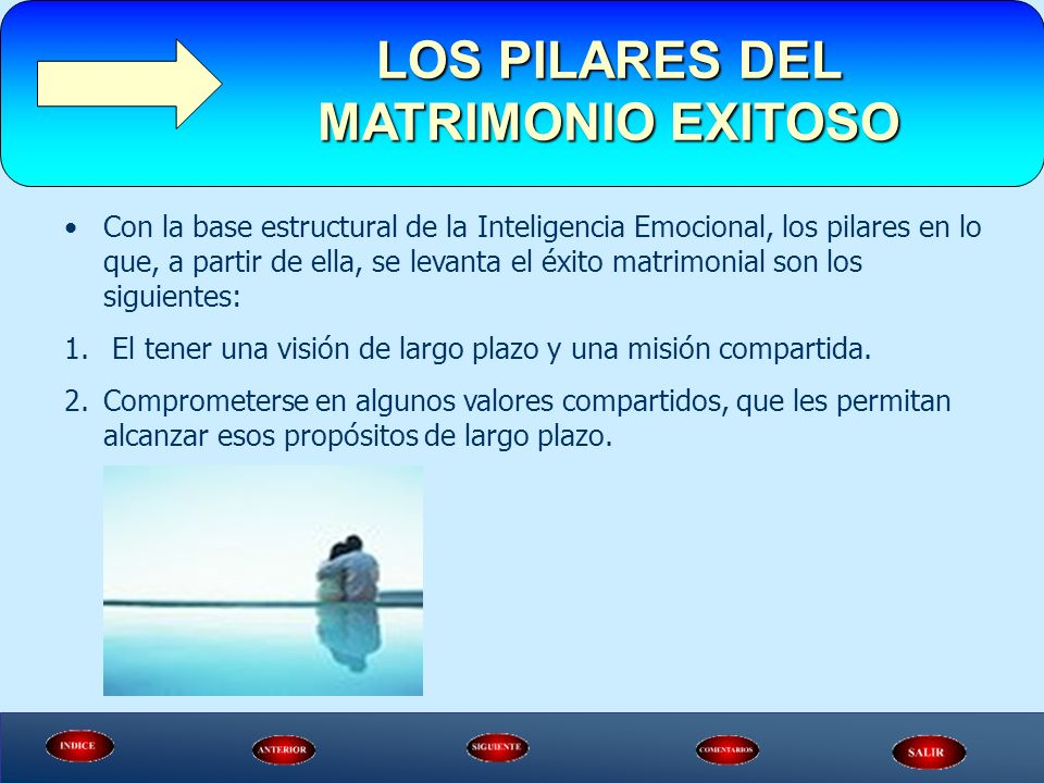 Con la base estructural de la Inteligencia Emocional, los pilares en lo que, a partir de ella, se levanta el éxito matrimonial son los siguientes: 1.