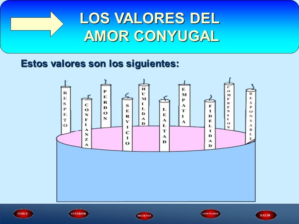 Estos valores son los siguientes: LOS VALORES DEL AMOR CONYUGAL AMOR CONYUGAL