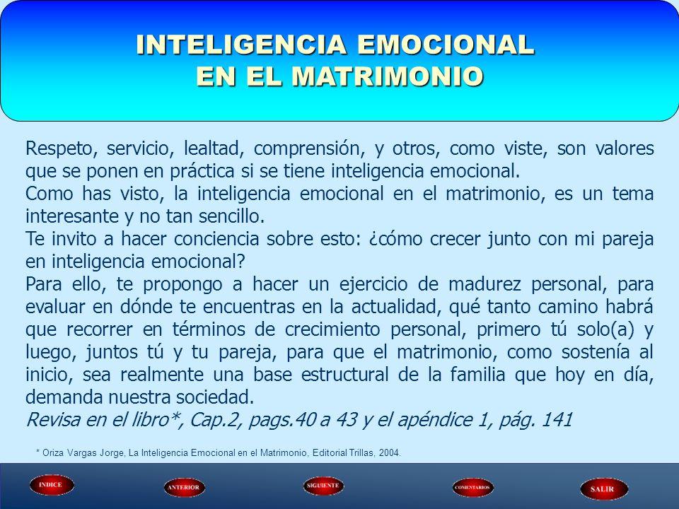 INTELIGENCIA EMOCIONAL EN EL MATRIMONIO Respeto, servicio, lealtad, comprensión, y otros, como viste, son valores que se ponen en práctica si se tiene