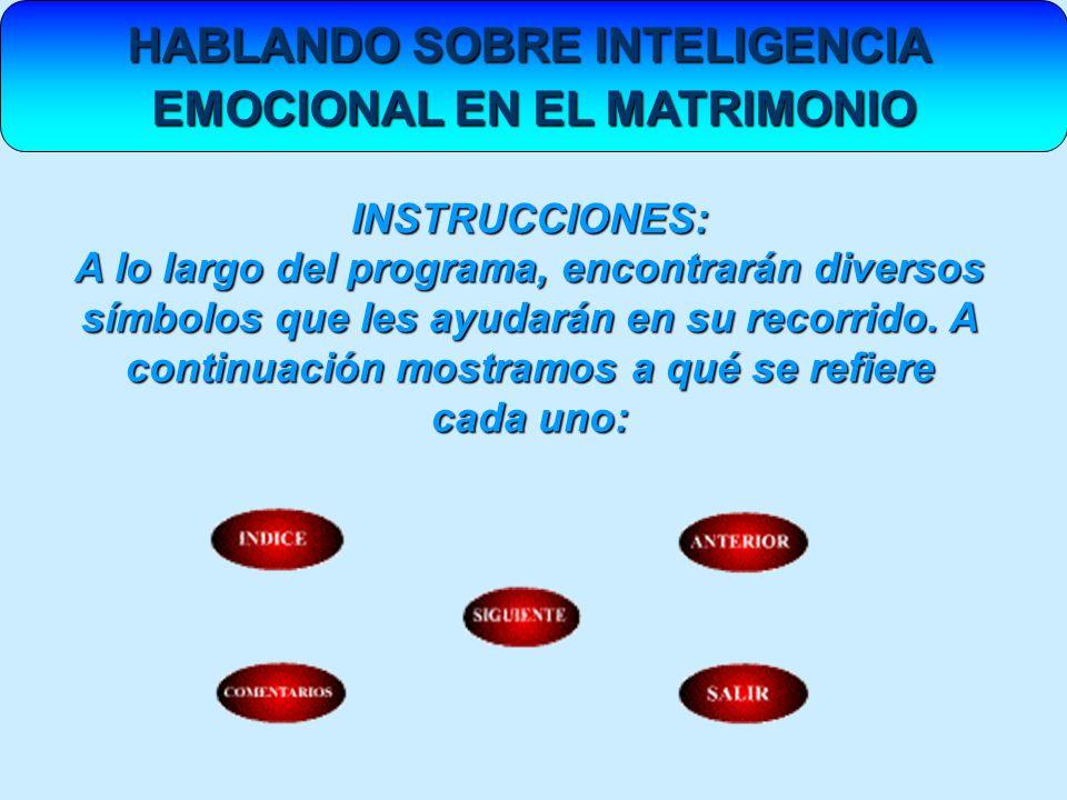 HABLANDO SOBRE INTELIGENCIA EMOCIONAL EN EL MATRIMONIO INSTRUCCIONES: A lo largo del programa, encontrarán diversos símbolos que les ayudarán en su re