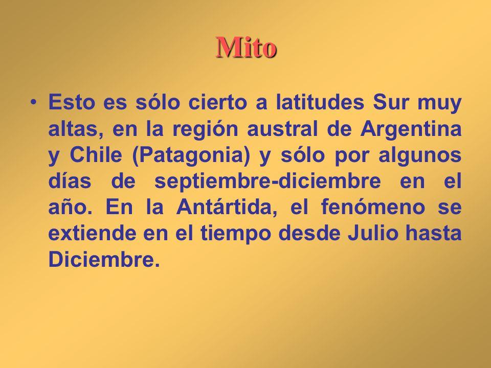 Mito Esto es sólo cierto a latitudes Sur muy altas, en la región austral de Argentina y Chile (Patagonia) y sólo por algunos días de septiembre-diciem