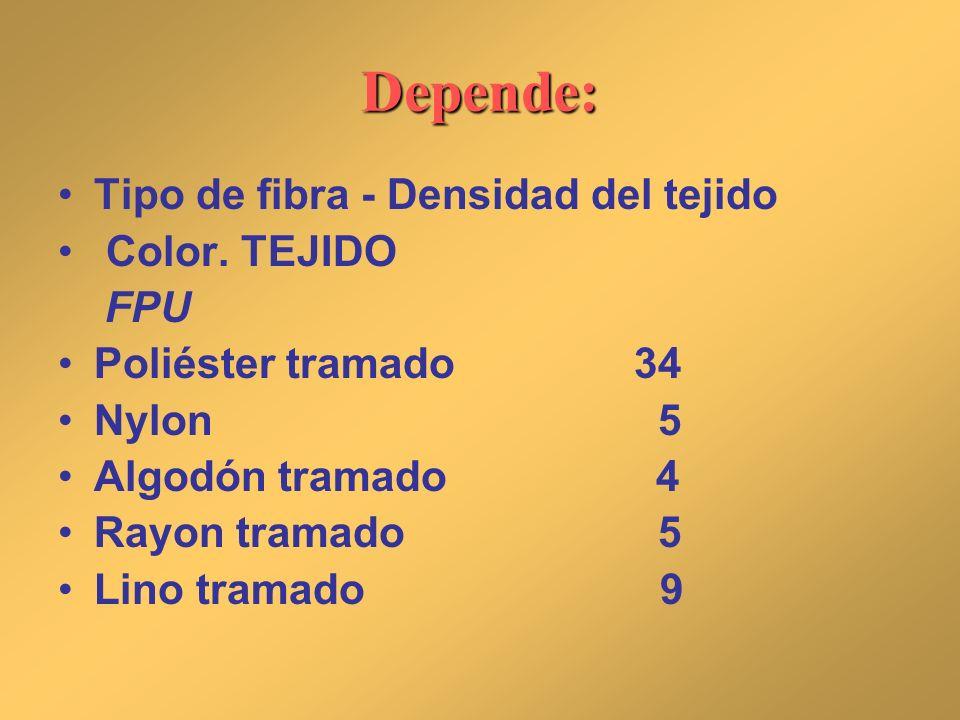 Depende: Tipo de fibra - Densidad del tejido Color. TEJIDO FPU Poliéster tramado34 Nylon 5 Algodón tramado 4 Rayon tramado 5 Lino tramado 9