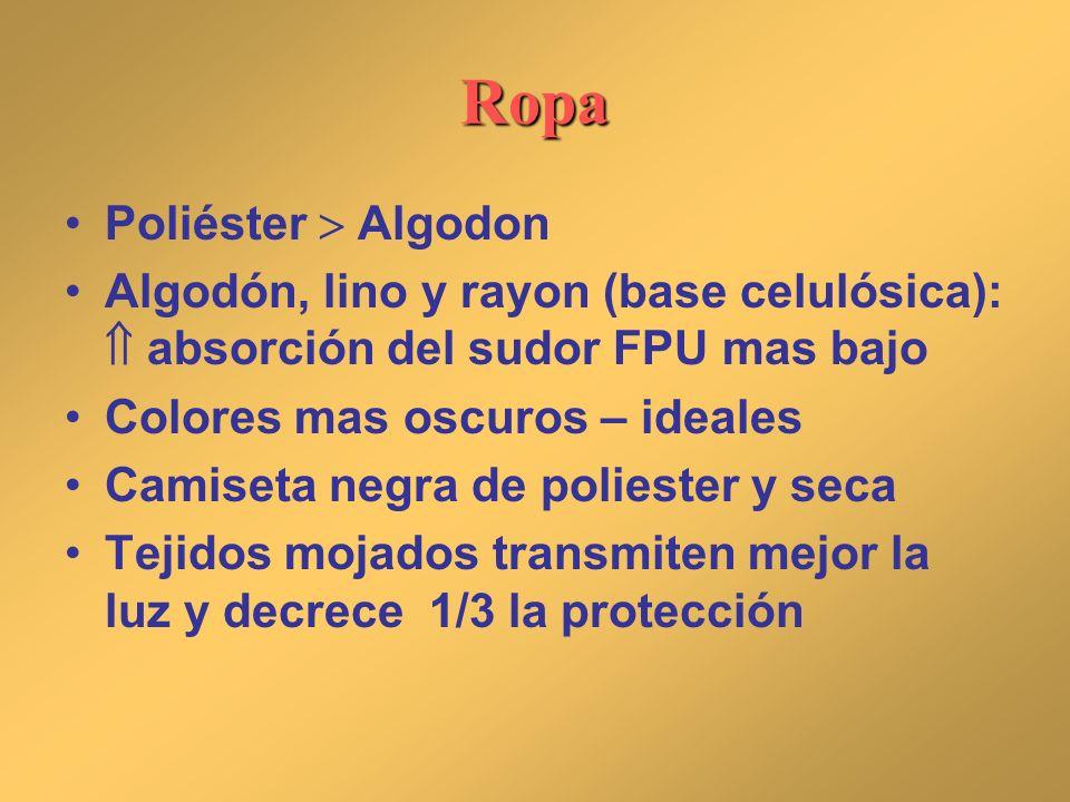 Ropa Poliéster Algodon Algodón, lino y rayon (base celulósica): absorción del sudor FPU mas bajo Colores mas oscuros – ideales Camiseta negra de polie