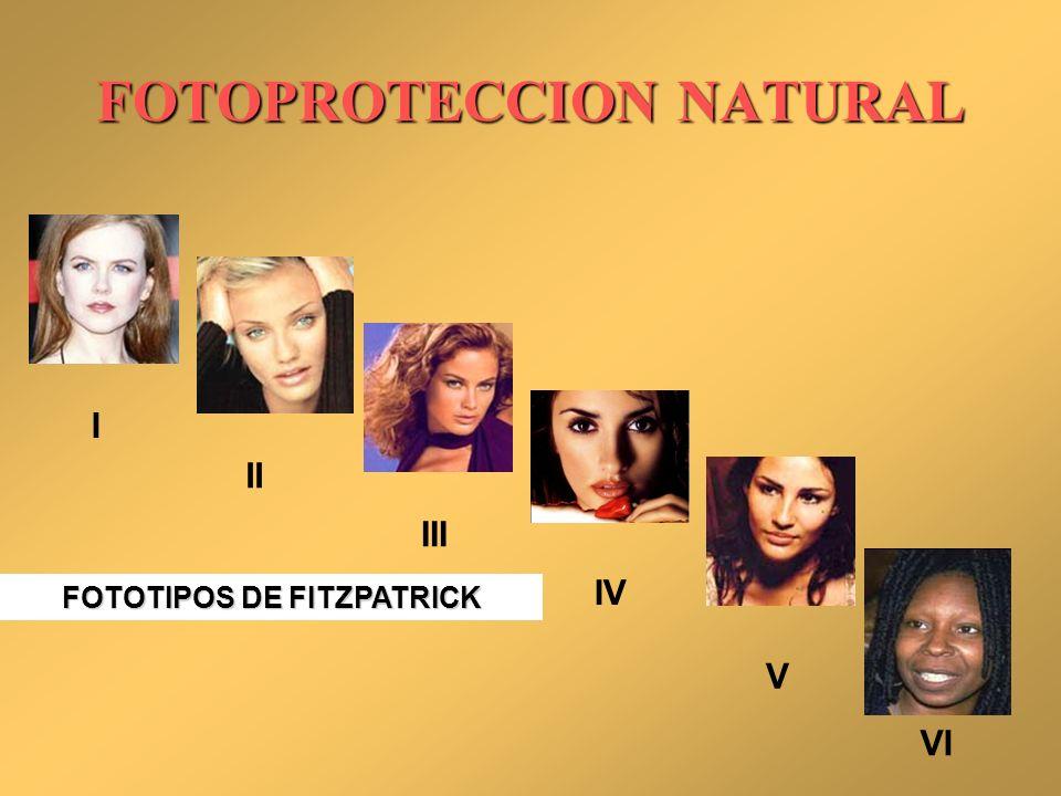 FOTOTIPOS DE FITZPATRICK I II III IV V VI FOTOPROTECCION NATURAL