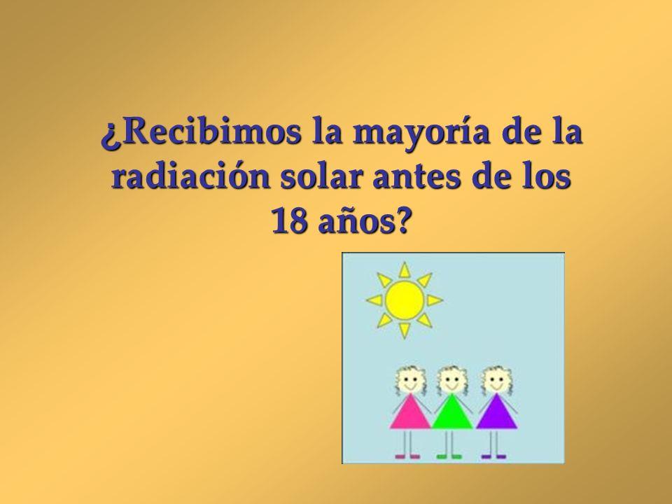 ¿ Recibimos la mayoría de la radiación solar antes de los 18 años?
